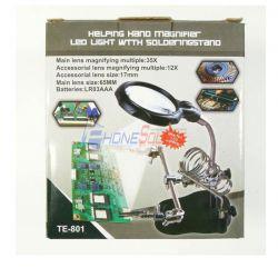 แว่นขยาย LED ที่วางหัวแร้งและที่จับบอดชุด TE-801